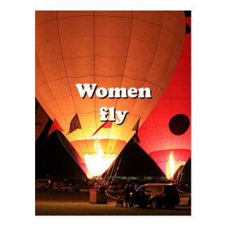Women fly: hot air balloon 2 postcard