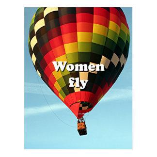 Women fly: hot air balloon postcard
