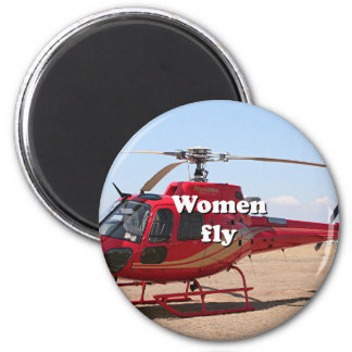 Women fly: red helicopter 2 inch round magnet