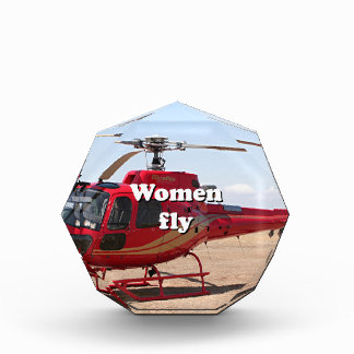 Women fly: red helicopter acrylic award