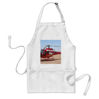 Women fly: red helicopter adult apron