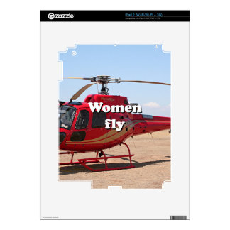 Women fly: red helicopter iPad 2 skins
