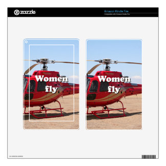 Women fly: red helicopter kindle fire skins