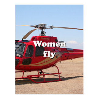 Women fly: red helicopter postcard