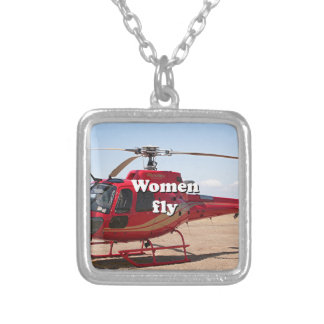 Women fly: red helicopter silver plated necklace