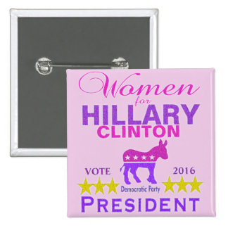 Women for Hillary Clinton President Think Pink Pinback Button