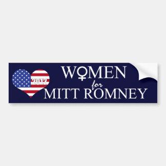 Women for Mitt Romney/2012-Female Sign+U.S. Heart Bumper Stickers