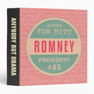Women For Mitt Romney 3 Ring Binder