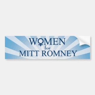 Women for Mitt Romney-Female Sign/Blue Sunburst Bumper Stickers
