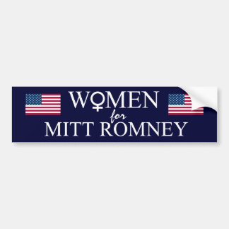Women for Mitt Romney-Female Sign+U.S. Flags Car Bumper Sticker