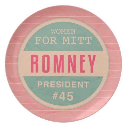 Women For Mitt Romney Party Plate