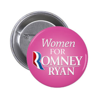 Women for Romney Ryan - pink Pinback Buttons