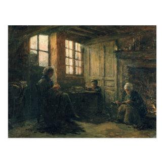 Women Fraying Linen, Honfleur, 1877 Postcard