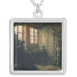 Women Fraying Linen, Honfleur, 1877 Silver Plated Necklace