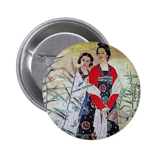 Women From Tang Dynasty Chinese Vintage Art Pinback Button