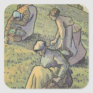Women Gathering Mushrooms, from 'Travaux des Champ Square Sticker