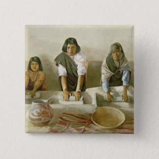 Women Grinding Corn, Pueblo of Laguna, c.1905 (col Pinback Button