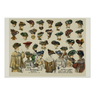 Women Hats 1905 Boston Poster