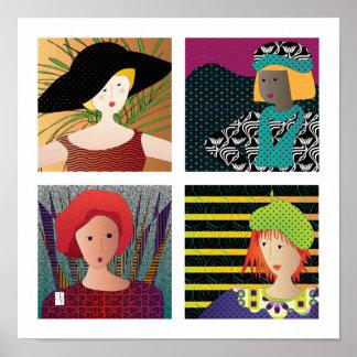 Women Hats Poster – White Border