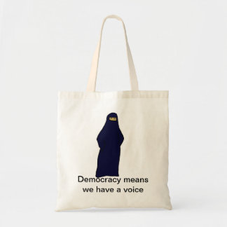 women in abaya color, Democracy means we have a... Canvas Bags
