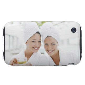 Women in bathrobes drinking tea at spa iPhone 3 tough cover