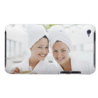 Women in bathrobes drinking tea at spa barely there iPod covers