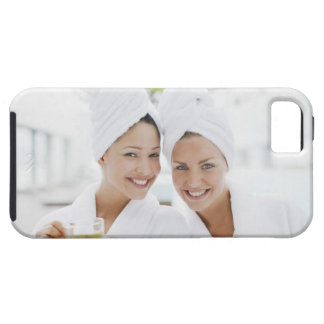 Women in bathrobes drinking tea at spa iPhone 5 covers