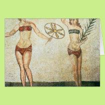 Women in 'bikinis' card