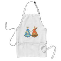 Women In Blue and Red Costumes Holding Hands Apron at Zazzle