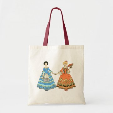 Women In Blue and Red Costumes Holding Hands Bag at Zazzle