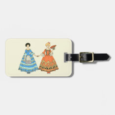 Women In Blue And Red Costumes Holding Hands Bag Tag at Zazzle