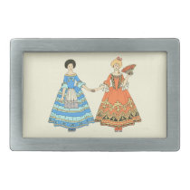 Women In Blue and Red Costumes Holding Hands Belt Buckle at Zazzle
