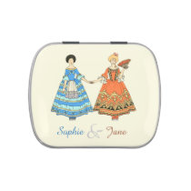 Women In Blue and Red Costumes Holding Hands Jelly Belly Tin at Zazzle