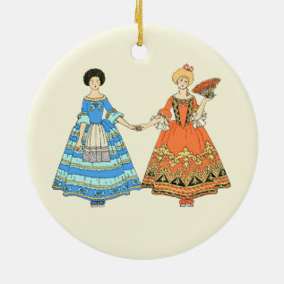 Women In Blue And Red Costumes Holding Hands Ceramic Ornament at Zazzle