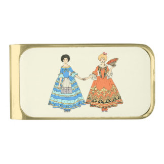 Women In Blue and Red Costumes Holding Hands Gold Finish Money Clip