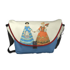 Women In Blue And Red Costumes Holding Hands Courier Bag at Zazzle