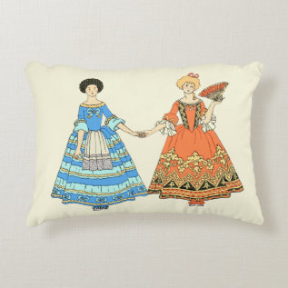 Women In Blue and Red Costumes Holding Hands Decorative Pillow at Zazzle