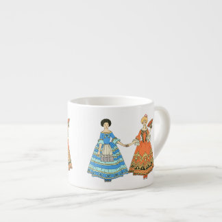 Women In Blue and Red Costumes Holding Hands Espresso Cup