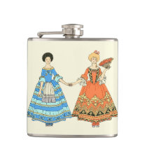 Women In Blue and Red Costumes Holding Hands Hip Flasks at Zazzle
