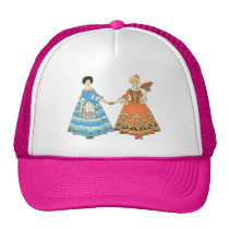 Women In Blue and Red Costumes Holding Hands Trucker Hats at Zazzle