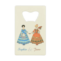 Women In Blue and Red Costumes Holding Hands Wallet Bottle Opener at Zazzle
