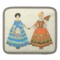 Women In Blue and Red Costumes Holding Hands iPad Sleeves at Zazzle