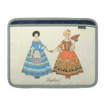 Women In Blue and Red Costumes Holding Hands MacBook Air Sleeve at Zazzle
