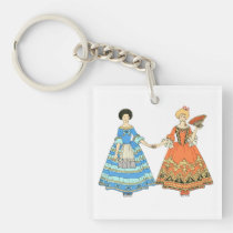 Women In Blue and Red Costumes Holding Hands Key Chain at Zazzle