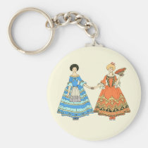 Women In Blue and Red Costumes Holding Hands Key Chains at Zazzle