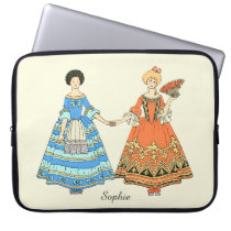 Women In Blue and Red Costumes Holding Hands Computer Sleeve at Zazzle