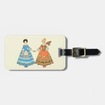 Women In Blue and Red Costumes Holding Hands Tag For Luggage at Zazzle
