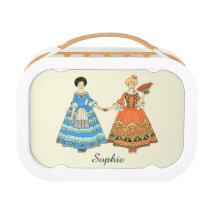 Women In Blue and Red Costumes Holding Hands Lunchbox at Zazzle