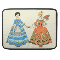 Women In Blue and Red Costumes Holding Hands Sleeves For MacBooks at Zazzle