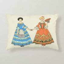 Women In Blue and Red Costumes Holding Hands Accent Pillow at Zazzle